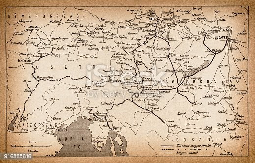 Illustration of a Austria and Hungary rail map  from 1893