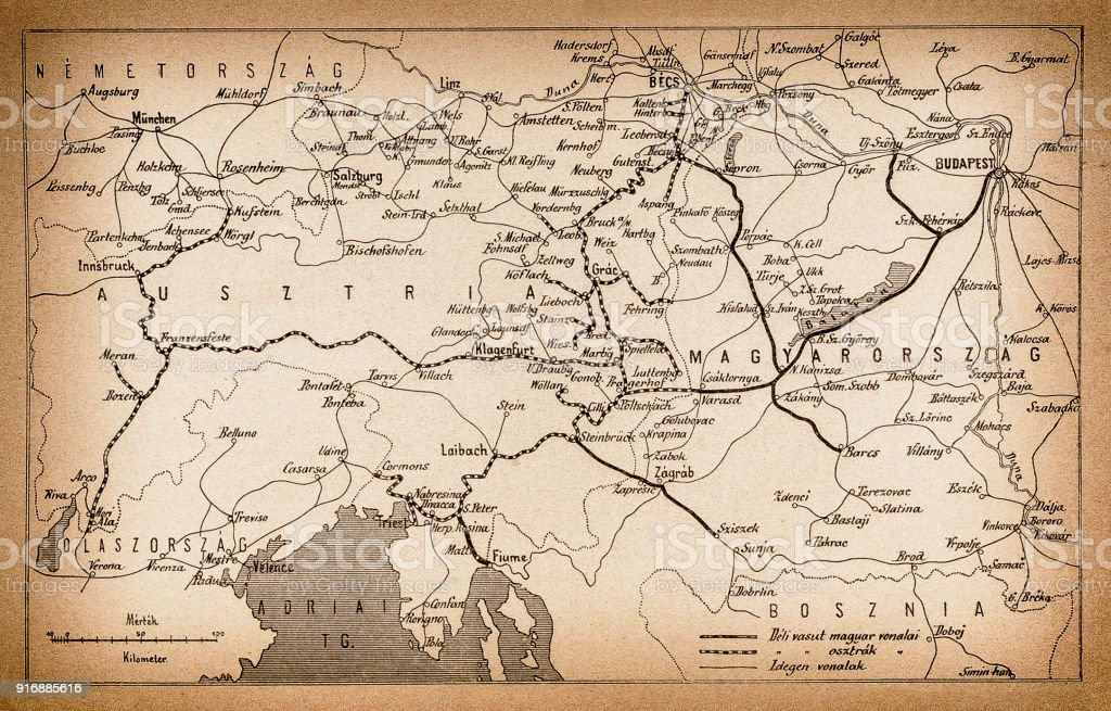 Austria and Hungary rail map from 1893 vector art illustration