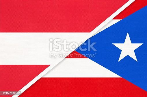 istock Austria and Puerto Rico, symbol of national flags from textile. 1287595125