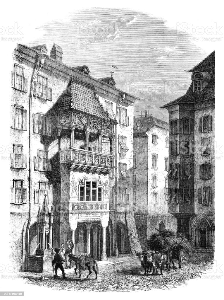 Austria Innsbruck with Golden Roof engraving 1859 vector art illustration