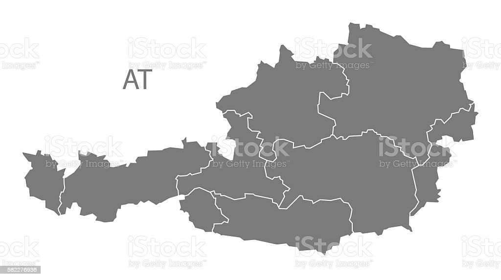 Austria Map with federal states grey vector art illustration