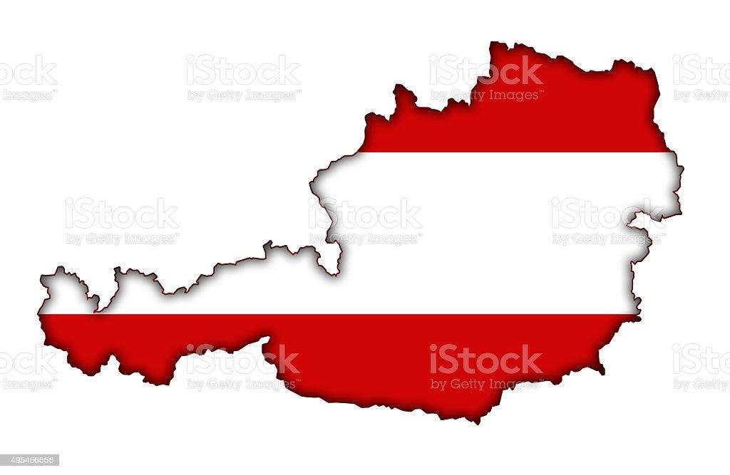 Austria map with flag vector art illustration
