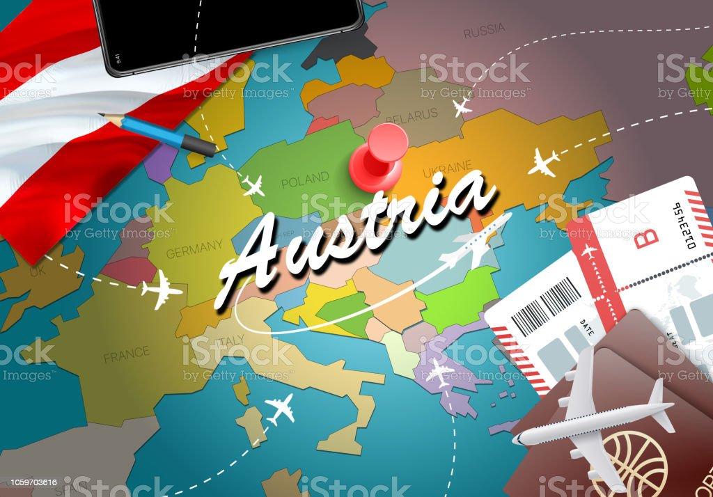 vacances autriche Fond de carte concept Autriche voyage avec plans, billets. Visitez le  concept de destination