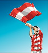 Austria Waving Flag Soccer Fan