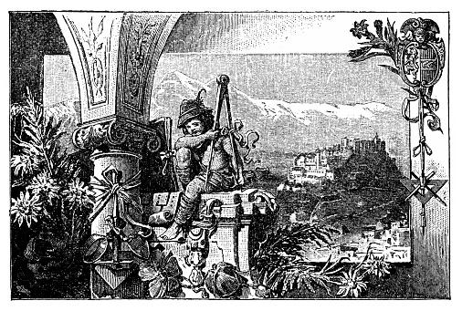 Illustration of Austrian culture motives