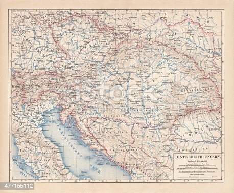 Ancient map of Austro-Hungarian Empire. Habsburg Monarchy. Lithograph, published in 1877.
