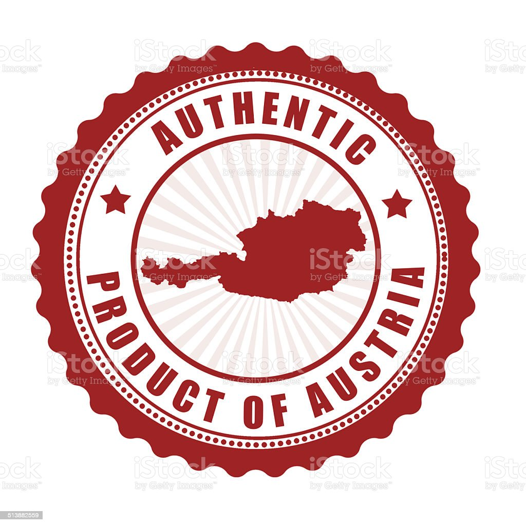 Authentic Product Of Austria Stamp Royalty Free Stock Vector Art