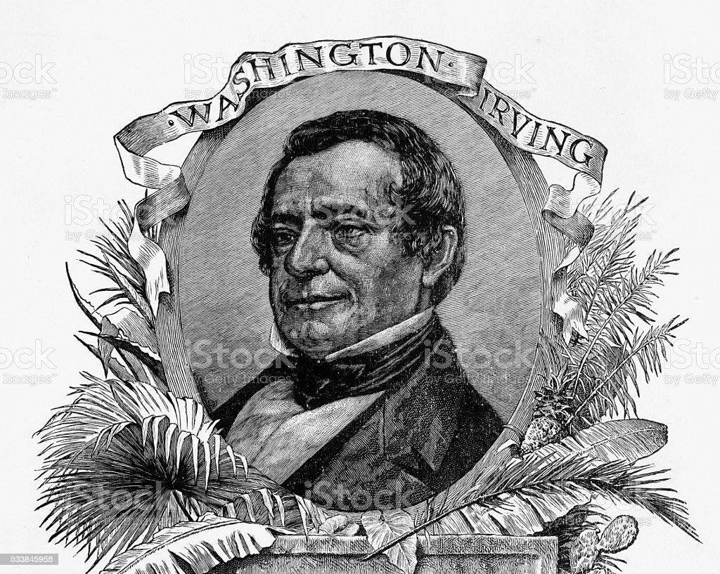作家ワシントンアーヴィング刻印のポートレートcirca 1892 - 1890 ...