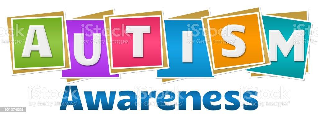 Autism Awareness Colorful Blocks Text vector art illustration