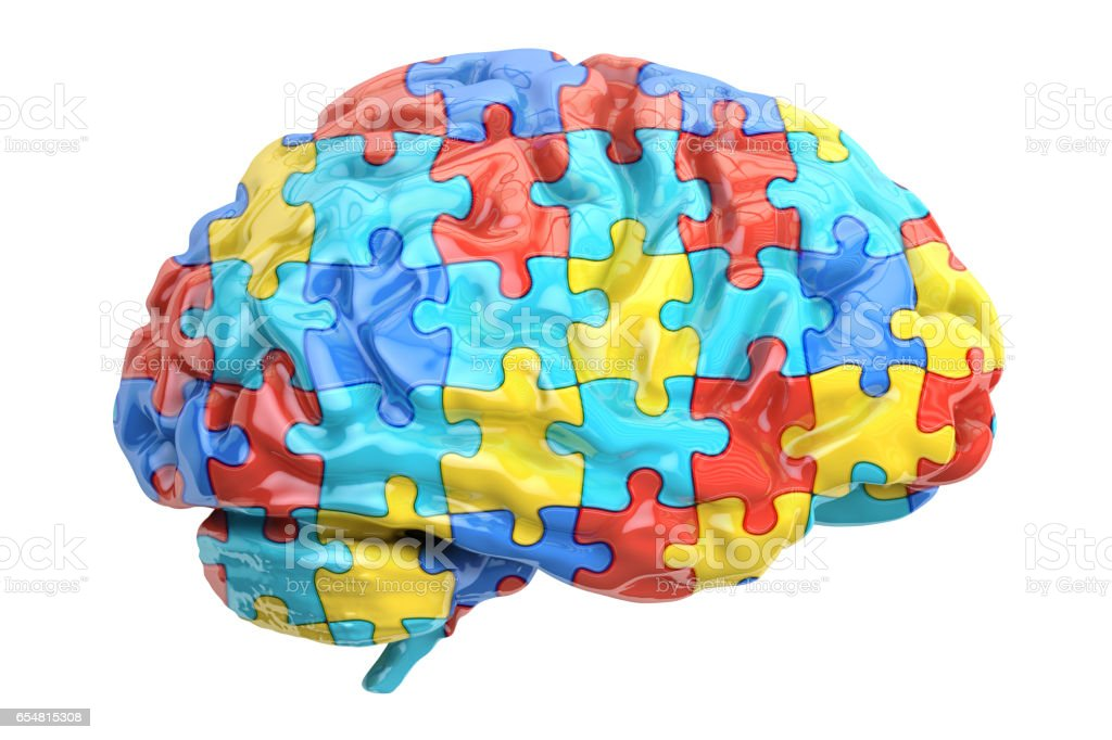 Autism concept with brain, 3D rendering isolated on white background vector art illustration