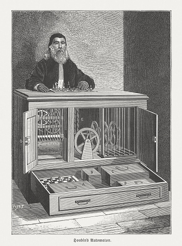 Automaton chess player by Robert-Houdin (1805-1871), wood engraving, published 1888