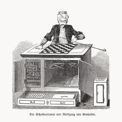 Automaton chess player by Wolfgang von Kempelen, woodcut, published 1893