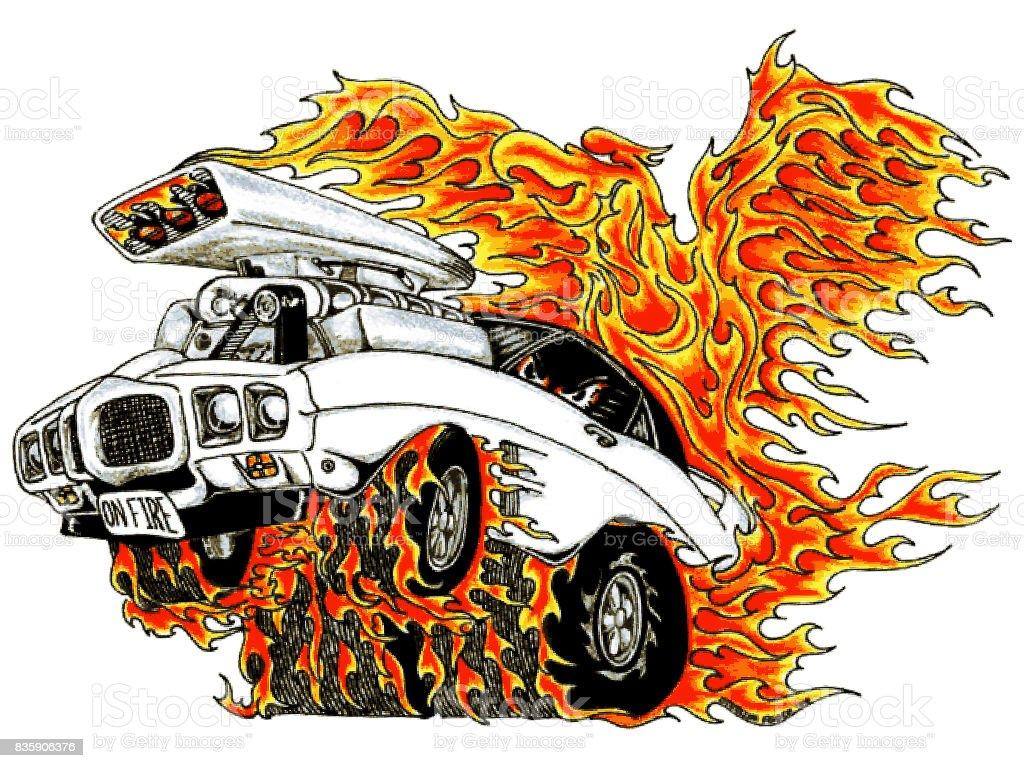 Automotive Firebird vector art illustration