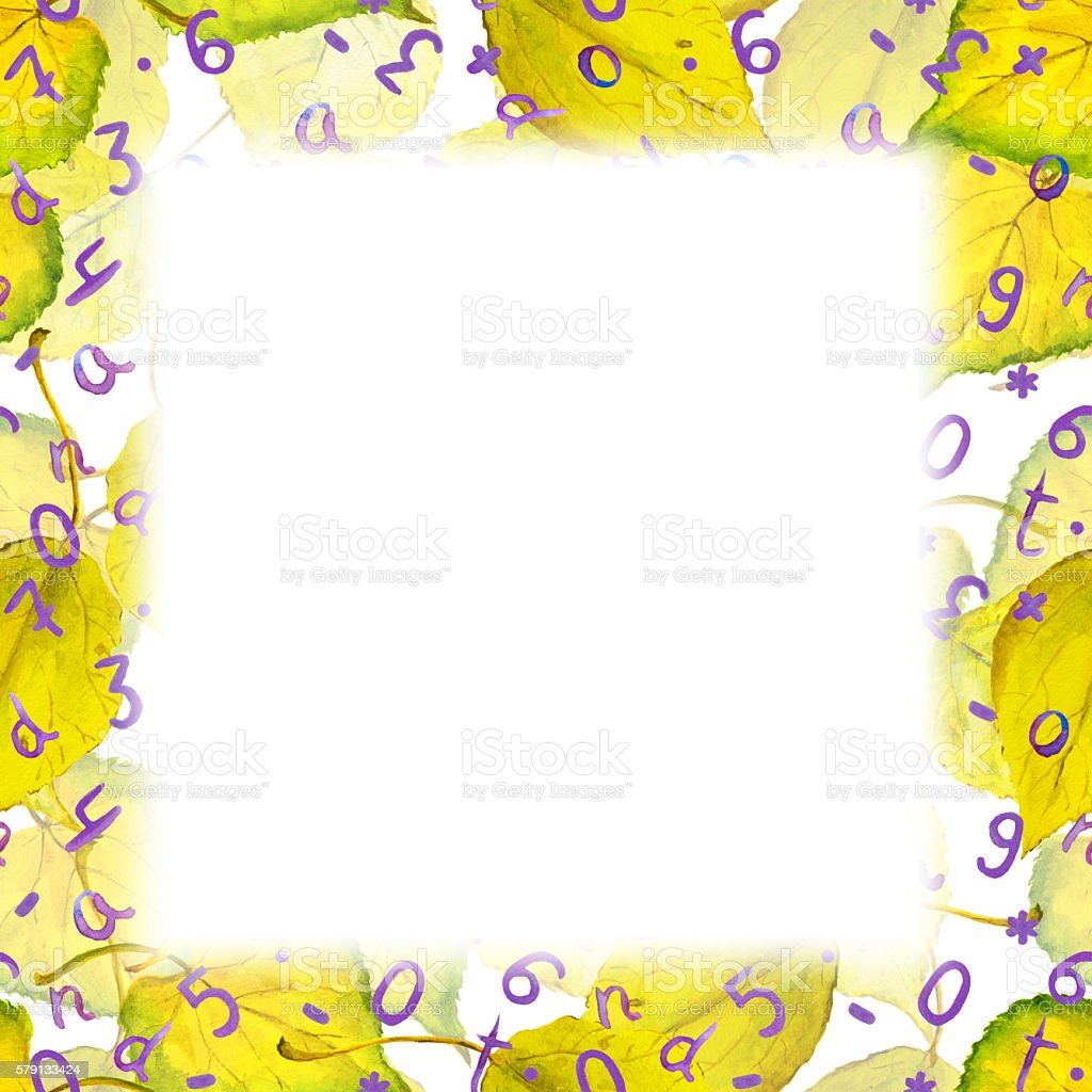 Autumn Border Frame Yellow Leaves Numbers Letters Watercolor Stock ...