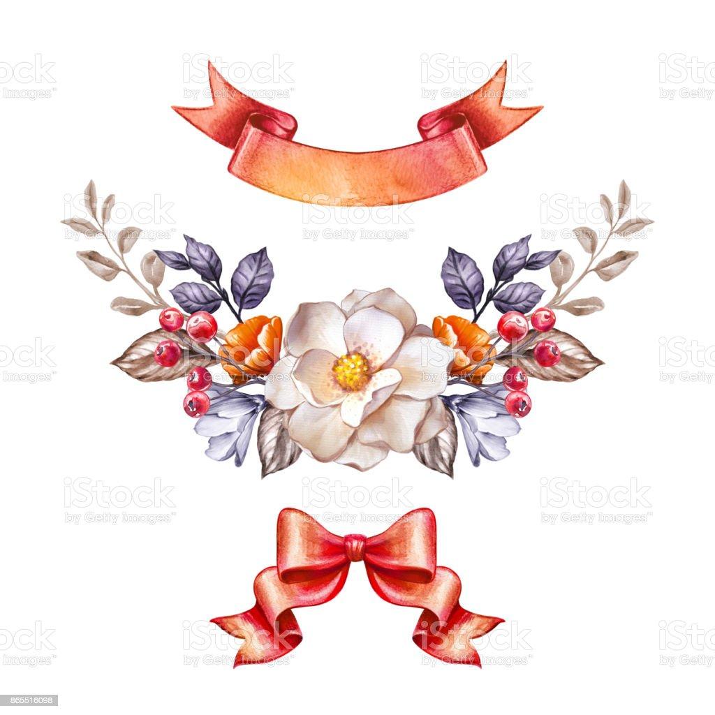 秋の植物の水彩イラスト感謝祭飾り秋の花弓リボン白い背景で隔離お祝い