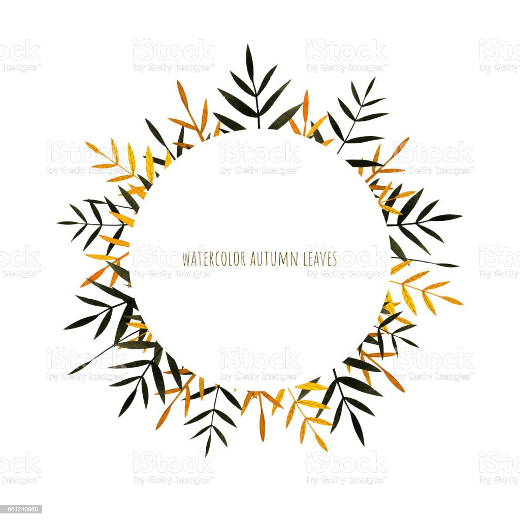 Autumn colorful leaves collection. Watercolor frame. royalty-free autumn colorful leaves collection watercolor frame stock vector art & more images of art