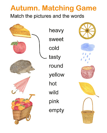 Autumn elements and words matching game, kids activities printable worksheet, educational puzzle watercolor illustration