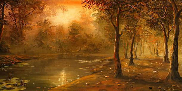 autumn evening - oil painting stock illustrations