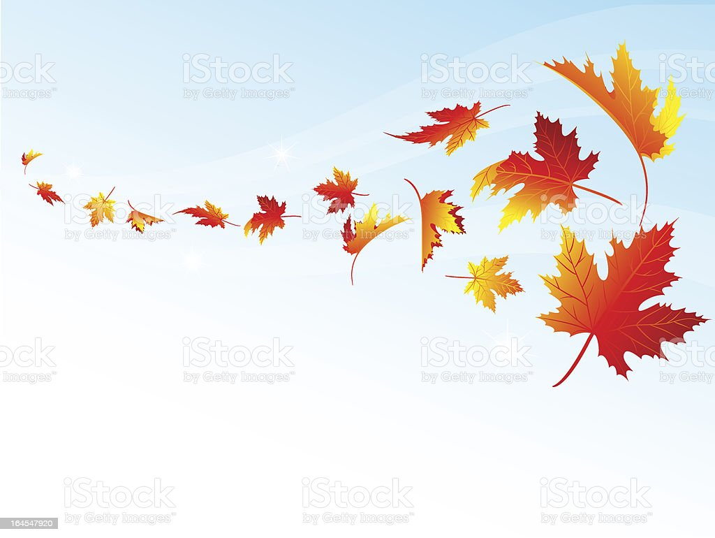 Autumn falling vector art illustration