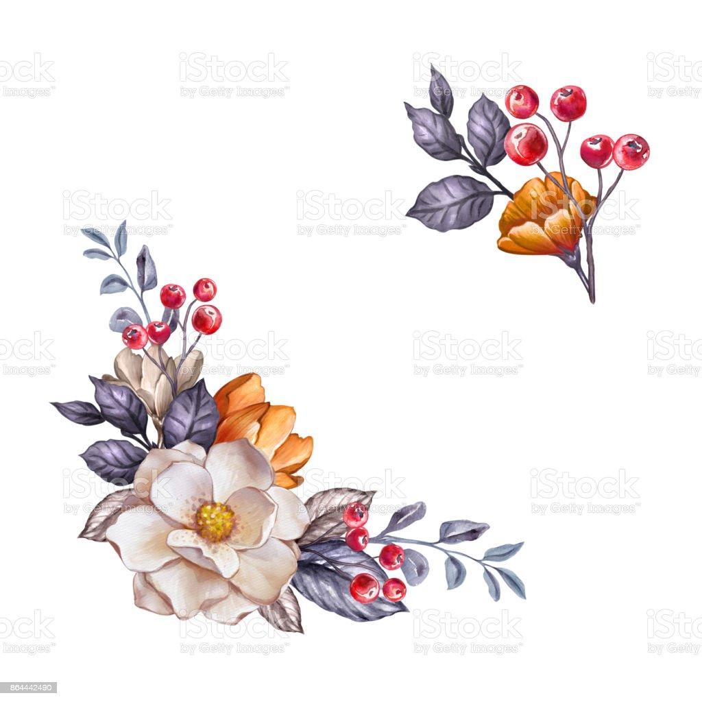 秋の花のデザイン要素の設定水彩画ボタニカル イラスト秋の花乾燥葉