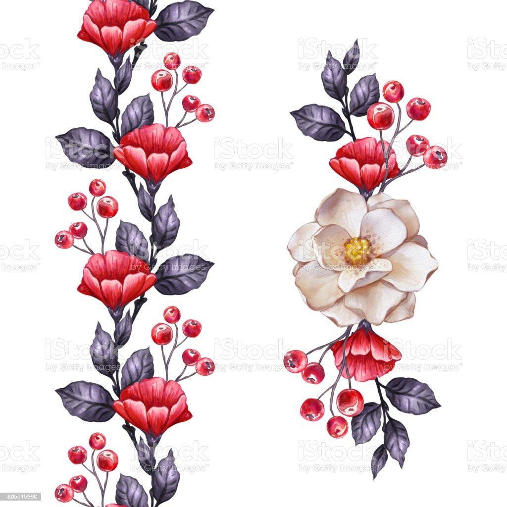Herbst Blumen Nahtlose Grenze Botanische Illustration Aquarell