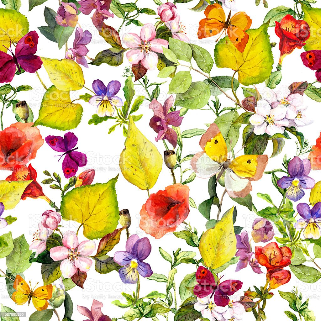 autumn flowers butterflies ditsy repeating floral pattern