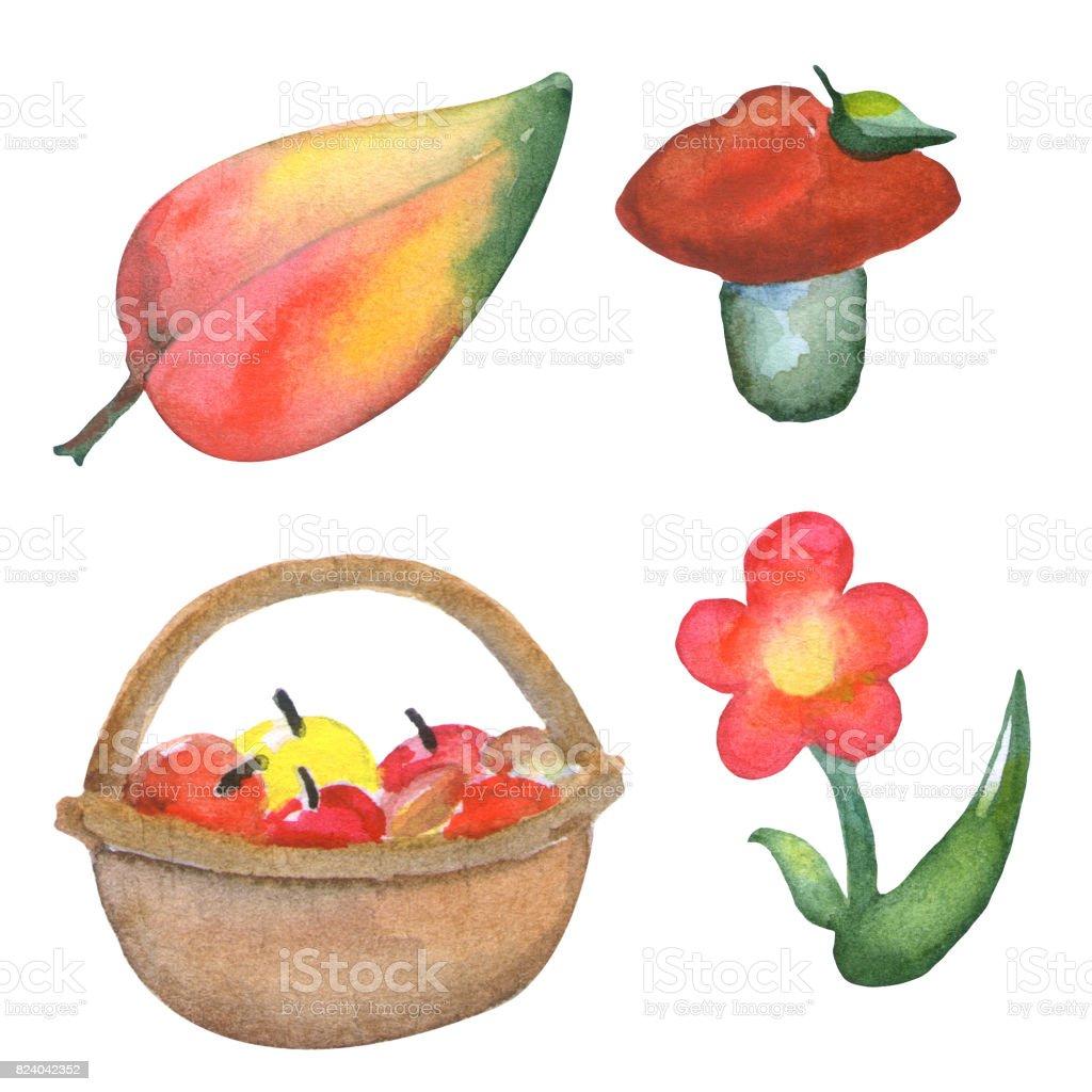 Sonbahar Orman Meyve Suluboya Resim çocuk Odası çizimi Portakal