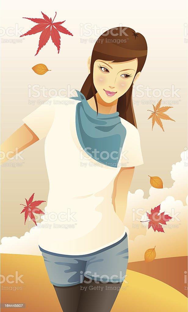 Autumn Girl royalty-free stock vector art