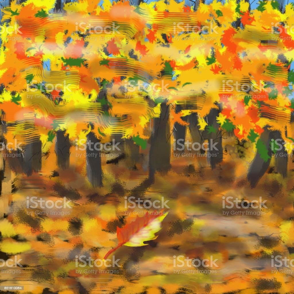 "Autumn Realistic artistic creation, realized with a technique of the flat brush. The subject ""Autumn"" is a natural theme, very exciting, with its yellowish colors, dynamic winds and romantic atmosphere (this is a topic asked this month). The image is impressionist and aesthetic. Art stock illustration"