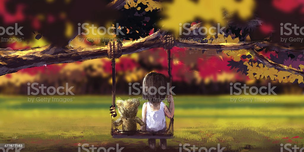 Autumn illustration rough painting style, Girl in landscape royalty-free autumn illustration rough painting style girl in landscape stock vector art & more images of abstract