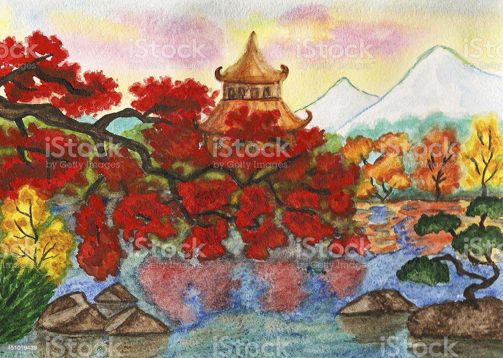 Herbst In Japan Gemalde Stock Vektor Art Und Mehr Bilder Von Anhohe Istock