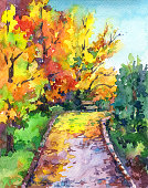 Autumn landscape - colorful park alley with trees, leaves and bench. Hand drawn watercolor illustration.