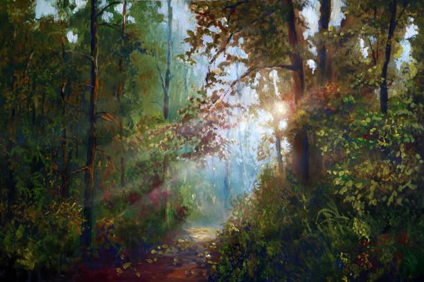 autumn landscape in oil painting vector art illustration