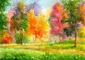 autumn landscape in oil painting