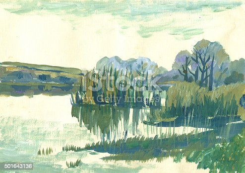autumn landscape with reeds in the foreground in the technique of tempera painting