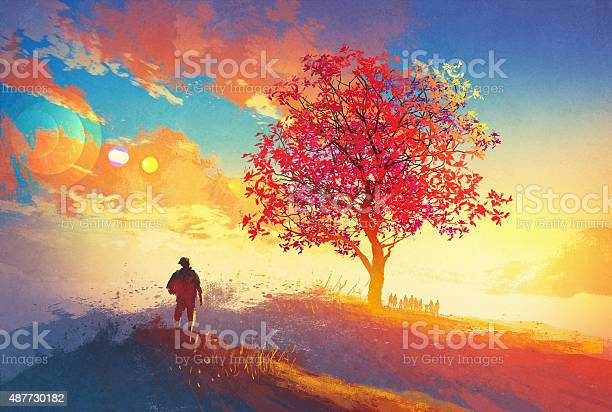 Autumn Landscape With Alone Tree On Mountain Stock Illustration - Download Image Now