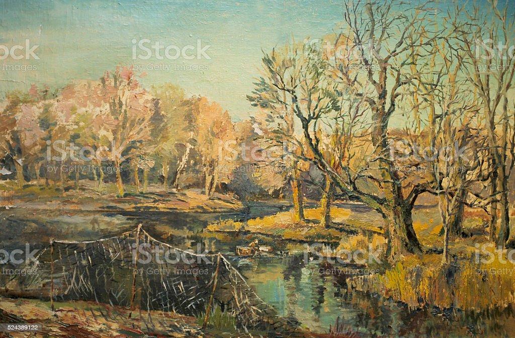 autumn landscape with fishing nets vector art illustration