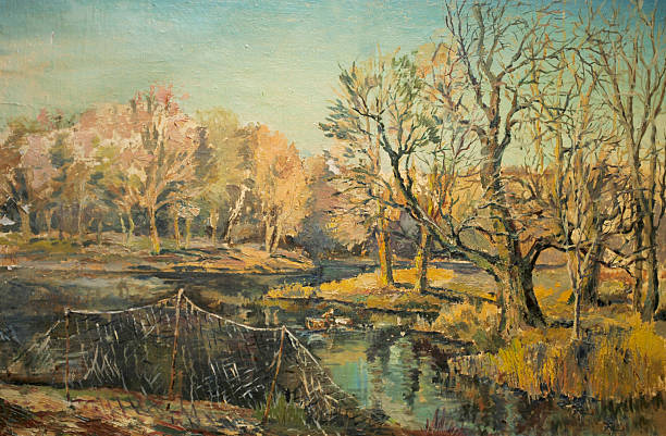 autumn landscape with fishing nets - oil painting stock illustrations
