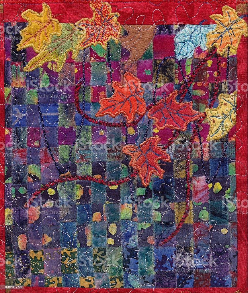 Autumn Leaf Appliqué Quilt, Textile Art royalty-free stock vector art