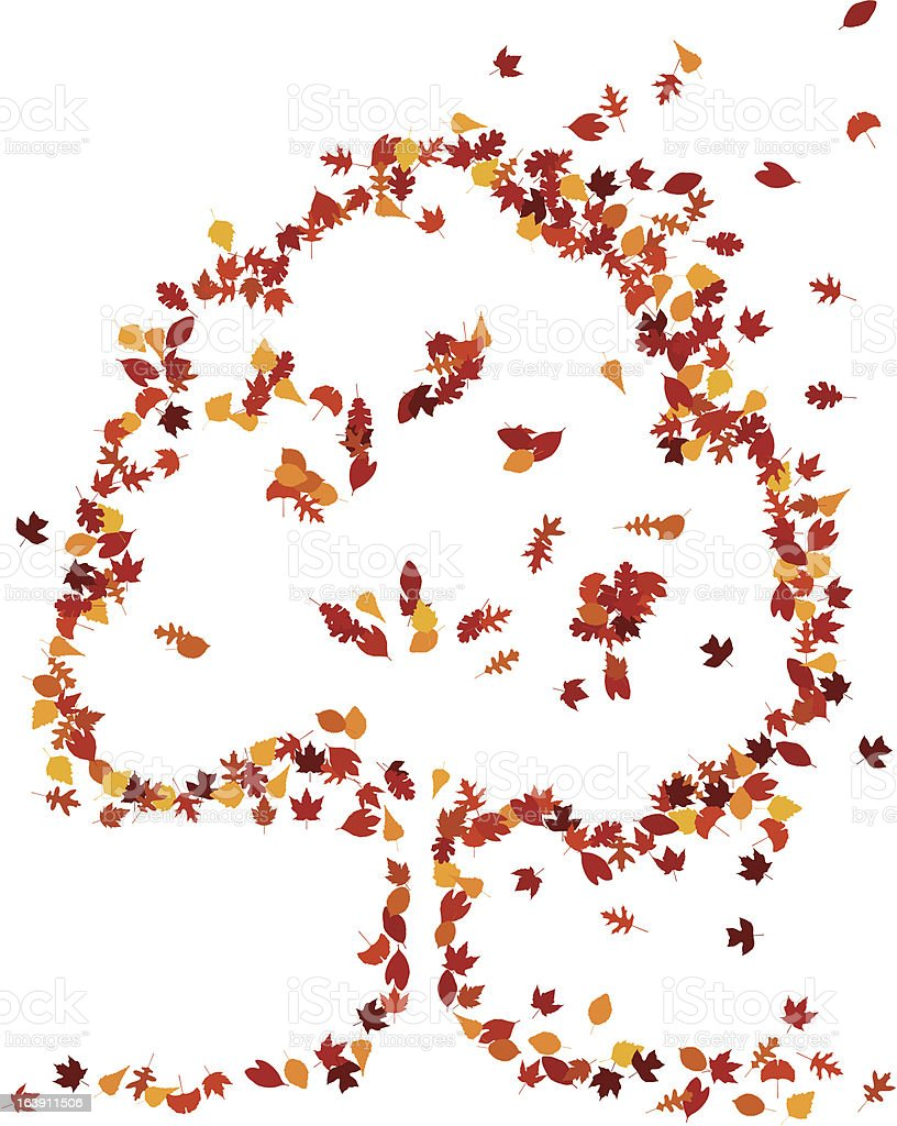 Autumn leaves form a tree shape royalty-free stock vector art