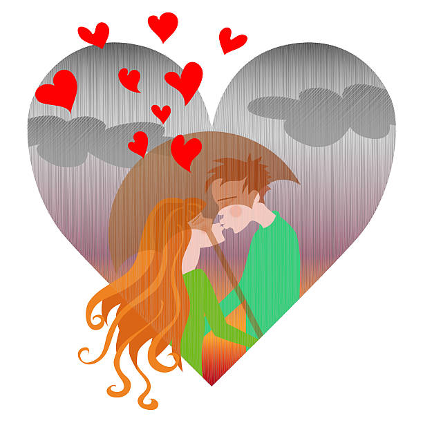 illustrazioni stock, clip art, cartoni animati e icone di tendenza di autunno amore - kids kiss embarrassed