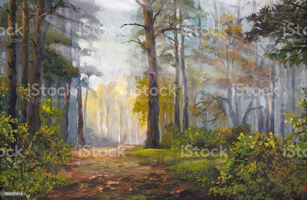 autumn morning in the forest, acrylic painting vector art illustration