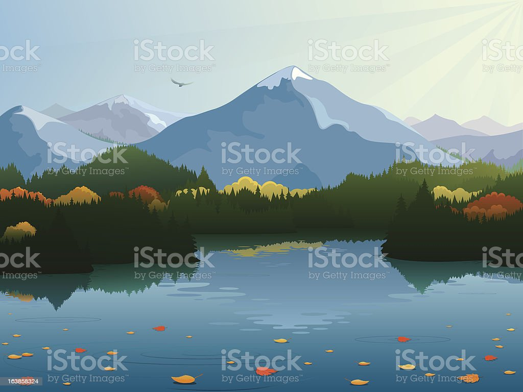 Autumn mountain landscape vector art illustration