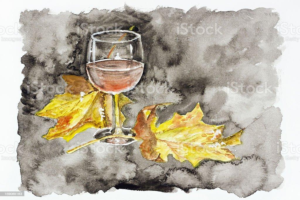 Autumn night wine of passion royalty-free stock vector art