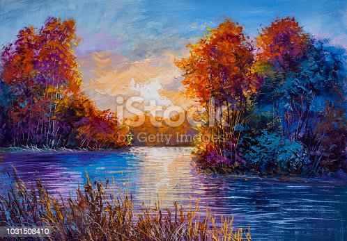 Autumn morning on the river. Oil painting.