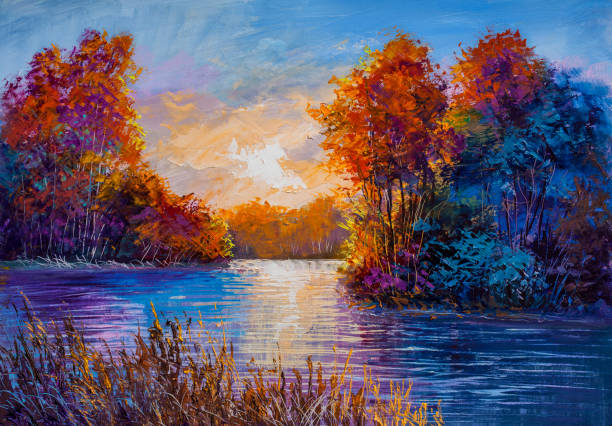 autumn on the river. landscape . painting: canvas, oil. - painting activity stock illustrations