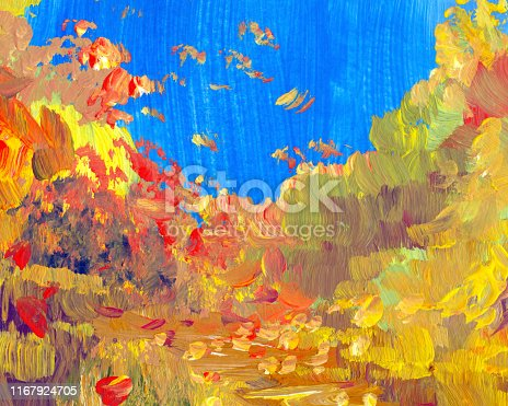 istock autumn painting landscape, impressionism 1167924705