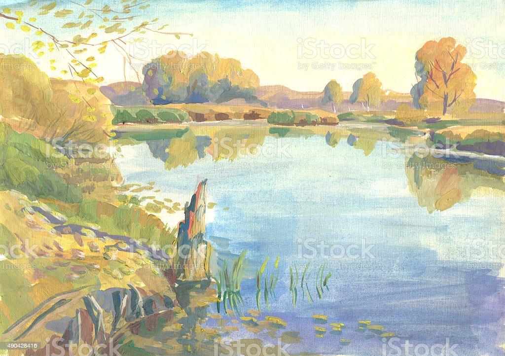 autumn painting tempera vector art illustration