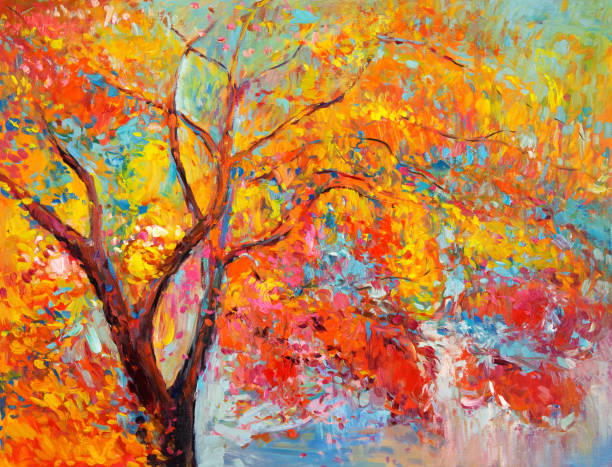 autumn park - acrylic painting stock illustrations