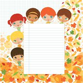 A group of multicultural school kids on an autumn background and banner - layered and Groupped, 300dpi JPG included. more illustrations: